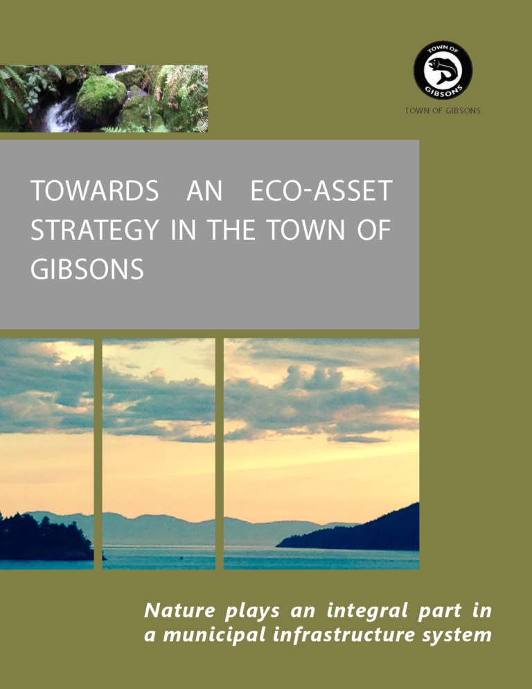 The Town of Gibsons is a leader in understanding and communicating the value of natural capital. With limited resources for infrastructure maintenance and replacement, the Town is increasingly focusing on natural capital as a cost effective alternative. The Town is developing an Eco-Asset Strategy, which outlines its pioneering approach to value the services provided by nature and place natural assets at the core of the Town's municipal infrastructure system.